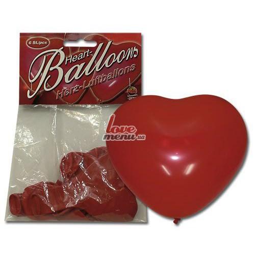 Воздушные шари в виде сердца - Heart Balloons, 6 шт - 1
