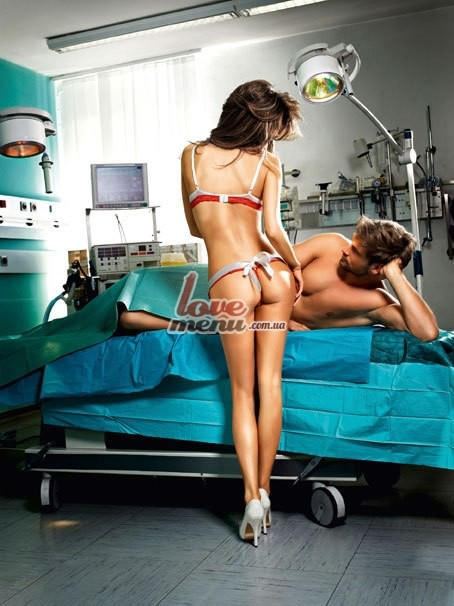 Костюм медсестры - White nurses bikini With apron - 2